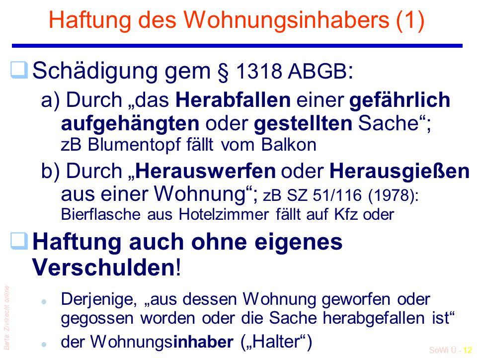 """SoWi Ü - 12 Barta: Zivilrecht online Haftung des Wohnungsinhabers (1) qSchädigung gem § 1318 ABGB : a) Durch """"das Herabfallen einer gefährlich aufgehängten oder gestellten Sache ; zB Blumentopf fällt vom Balkon b) Durch """"Herauswerfen oder Herausgießen aus einer Wohnung ; zB SZ 51/116 (1978): Bierflasche aus Hotelzimmer fällt auf Kfz oder qHaftung auch ohne eigenes Verschulden."""