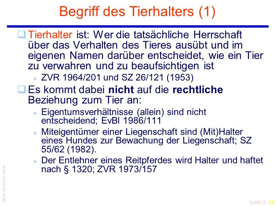 SoWi Ü - 18 Barta: Zivilrecht online Begriff des Tierhalters (1) qTierhalter ist: Wer die tatsächliche Herrschaft über das Verhalten des Tieres ausübt und im eigenen Namen darüber entscheidet, wie ein Tier zu verwahren und zu beaufsichtigen ist l ZVR 1964/201 und SZ 26/121 (1953) qEs kommt dabei nicht auf die rechtliche Beziehung zum Tier an: l Eigentumsverhältnisse (allein) sind nicht entscheidend; EvBl 1986/111 l Miteigentümer einer Liegenschaft sind (Mit)Halter eines Hundes zur Bewachung der Liegenschaft; SZ 55/62 (1982).
