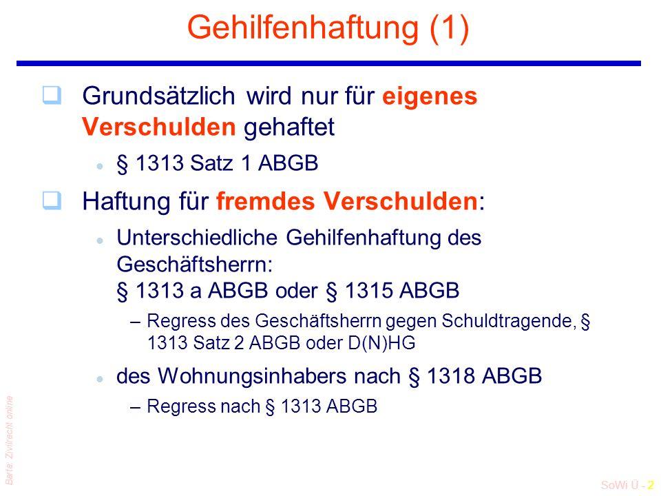 SoWi Ü - 2 Barta: Zivilrecht online Gehilfenhaftung (1) qGrundsätzlich wird nur für eigenes Verschulden gehaftet l § 1313 Satz 1 ABGB qHaftung für fremdes Verschulden: l Unterschiedliche Gehilfenhaftung des Geschäftsherrn: § 1313 a ABGB oder § 1315 ABGB –Regress des Geschäftsherrn gegen Schuldtragende, § 1313 Satz 2 ABGB oder D(N)HG l des Wohnungsinhabers nach § 1318 ABGB –Regress nach § 1313 ABGB