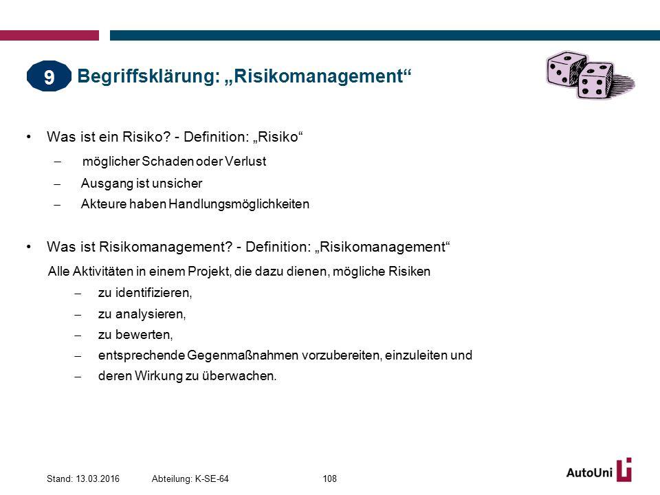 """Begriffsklärung: """"Risikomanagement Was ist ein Risiko."""