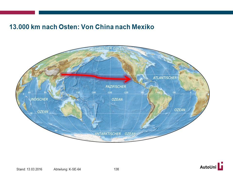 13.000 km nach Osten: Von China nach Mexiko Abteilung: K-SE-64Stand: 13.03.2016138