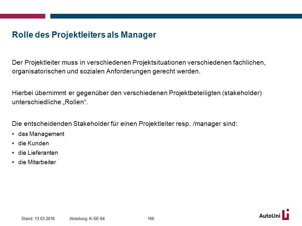 Rolle des Projektleiters als Manager Der Projektleiter muss in verschiedenen Projektsituationen verschiedenen fachlichen, organisatorischen und sozialen Anforderungen gerecht werden.