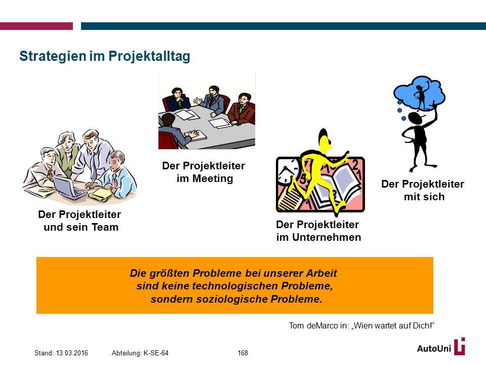 Strategien im Projektalltag Abteilung: K-SE-64Stand: 13.03.2016168 Die größten Probleme bei unserer Arbeit sind keine technologischen Probleme, sondern soziologische Probleme.