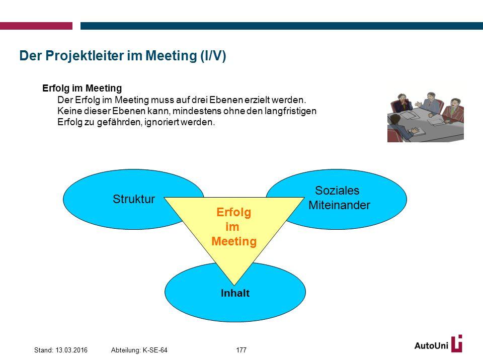 Der Projektleiter im Meeting (I/V) Abteilung: K-SE-64Stand: 13.03.2016177 Erfolg im Meeting Der Erfolg im Meeting muss auf drei Ebenen erzielt werden.
