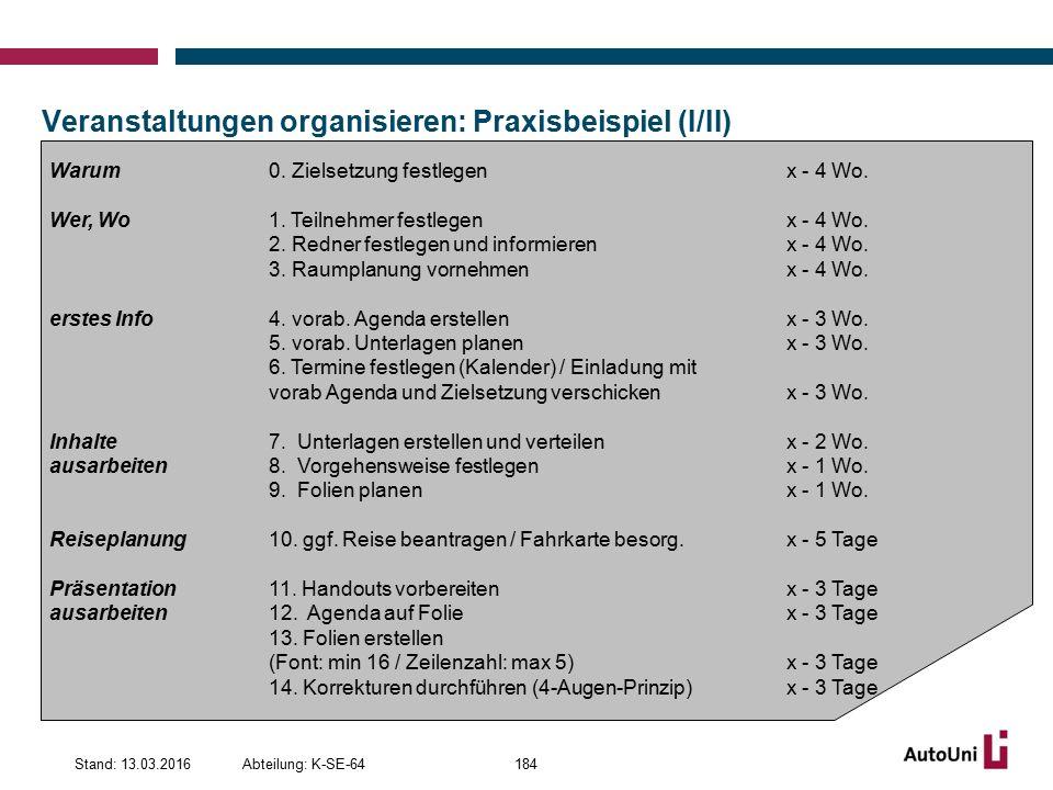Veranstaltungen organisieren: Praxisbeispiel (I/II) Abteilung: K-SE-64Stand: 13.03.2016184 Warum 0.