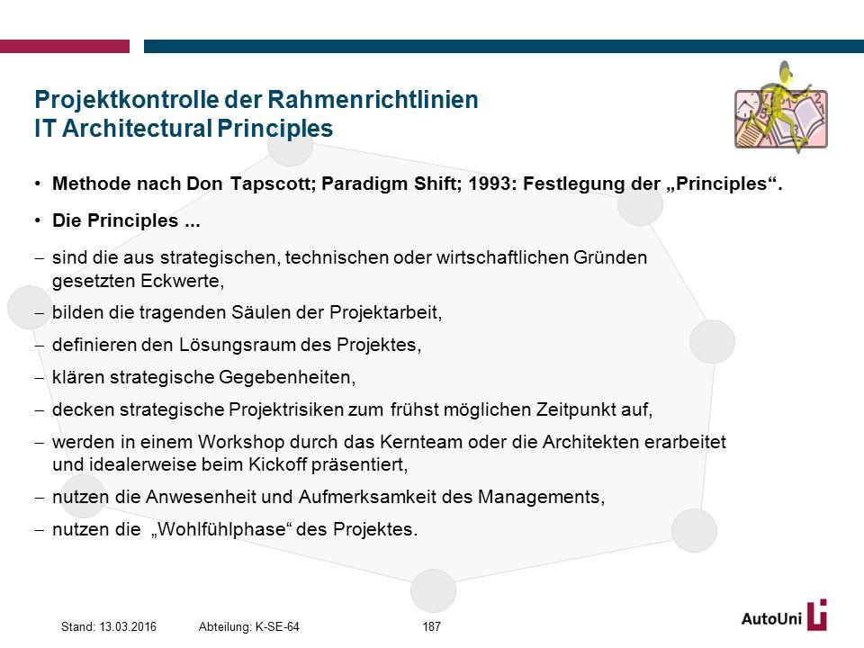 """Projektkontrolle der Rahmenrichtlinien IT Architectural Principles Methode nach Don Tapscott; Paradigm Shift; 1993: Festlegung der """"Principles ."""