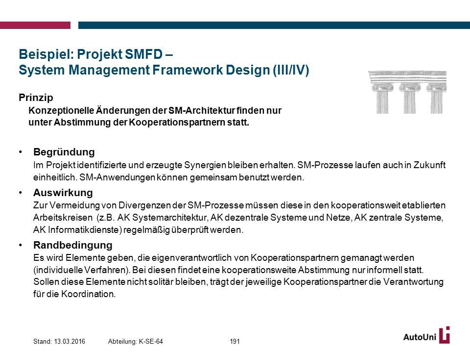 Beispiel: Projekt SMFD – System Management Framework Design (III/IV) Prinzip Konzeptionelle Änderungen der SM-Architektur finden nur unter Abstimmung der Kooperationspartnern statt.