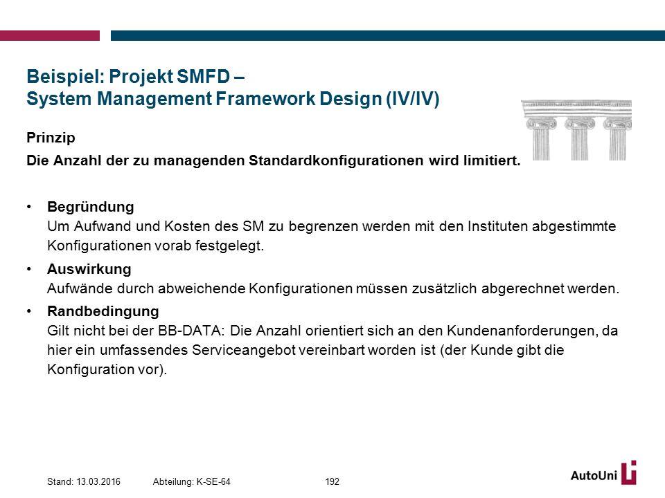 Beispiel: Projekt SMFD – System Management Framework Design (IV/IV) Prinzip Die Anzahl der zu managenden Standardkonfigurationen wird limitiert.