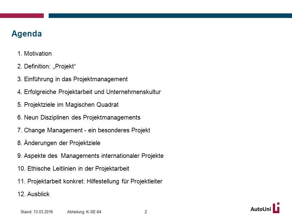 Merkmale für erfolgreiches Projektmanagement (IX/IX) Abteilung: K-SE-64Stand: 13.03.201643 Meilensteinplanung Kostenschätzungsmethoden Ressourcenplanung Projektstrukturpläne Zeitschätzverfahren Phasenkonzepte Einsatz von Werkzeugen und Methoden