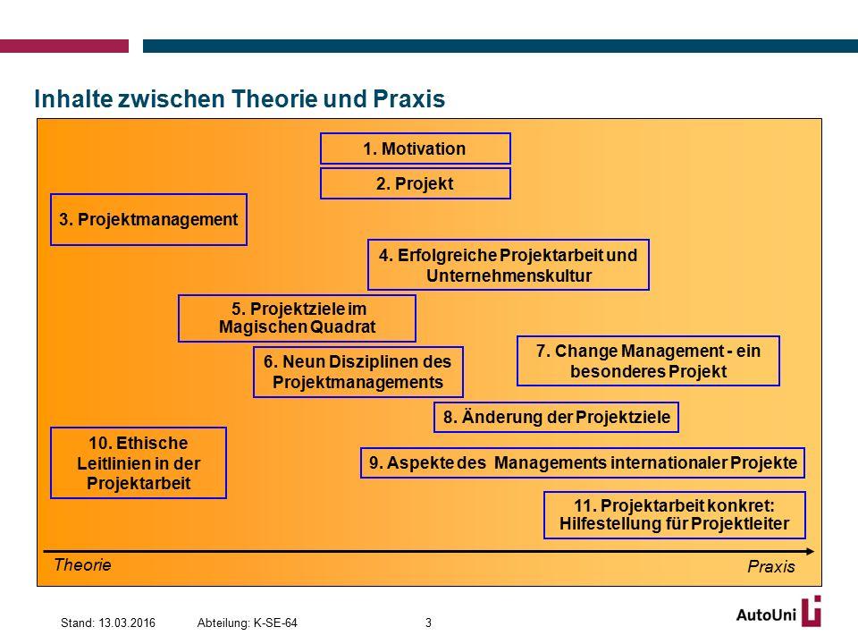 Gründe für das Abweichen von Projektzielen 14Abteilung: K-SE-64Stand: 13.03.2016 Quelle: GPM Deutsche Gesellschaft für Projektmanagement &PA Consulting Group, Dezember 2012