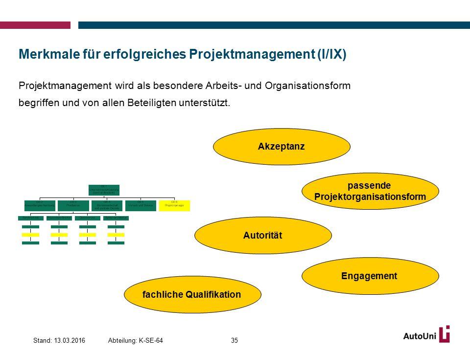 Merkmale für erfolgreiches Projektmanagement (I/IX) Projektmanagement wird als besondere Arbeits- und Organisationsform begriffen und von allen Beteiligten unterstützt.