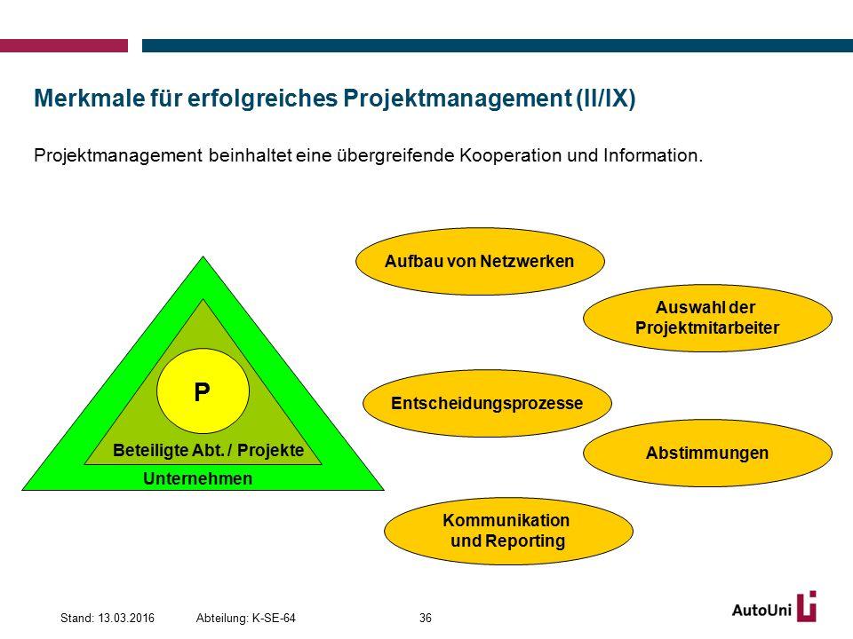 Merkmale für erfolgreiches Projektmanagement (II/IX) Projektmanagement beinhaltet eine übergreifende Kooperation und Information.