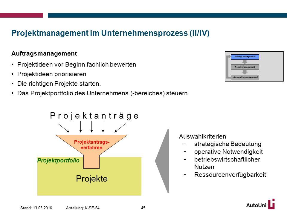 Projektmanagement im Unternehmensprozess (II/IV) Auftragsmanagement Projektideen vor Beginn fachlich bewerten Projektideen priorisieren Die richtigen Projekte starten.