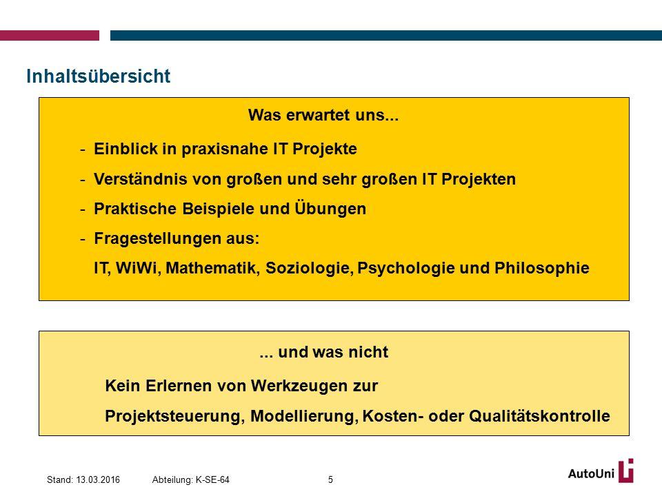 Don't set too ambitious deadlines Abteilung: K-SE-64Stand: 13.03.201676 Quelle: http://www.hart-steuerbord.de/