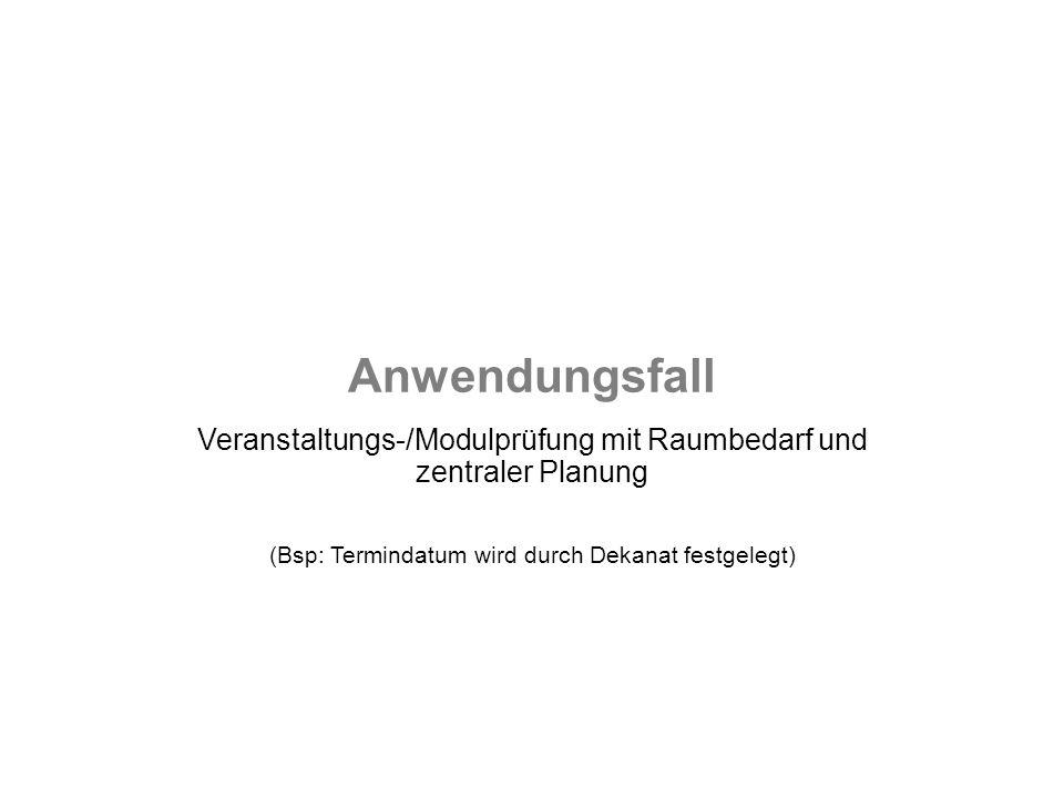 Anwendungsfall Veranstaltungs-/Modulprüfung mit Raumbedarf und zentraler Planung (Bsp: Termindatum wird durch Dekanat festgelegt)