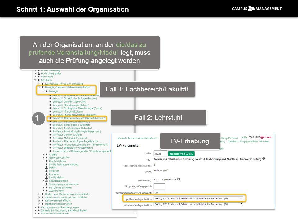 Schritt 1: Auswahl der Organisation Fall 1: Fachbereich/Fakultät Fall 2: Lehrstuhl 1.