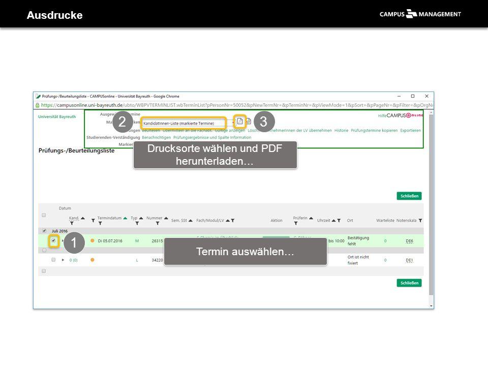 Ausdrucke 1 Termin auswählen… 2 Drucksorte wählen und PDF herunterladen… 3