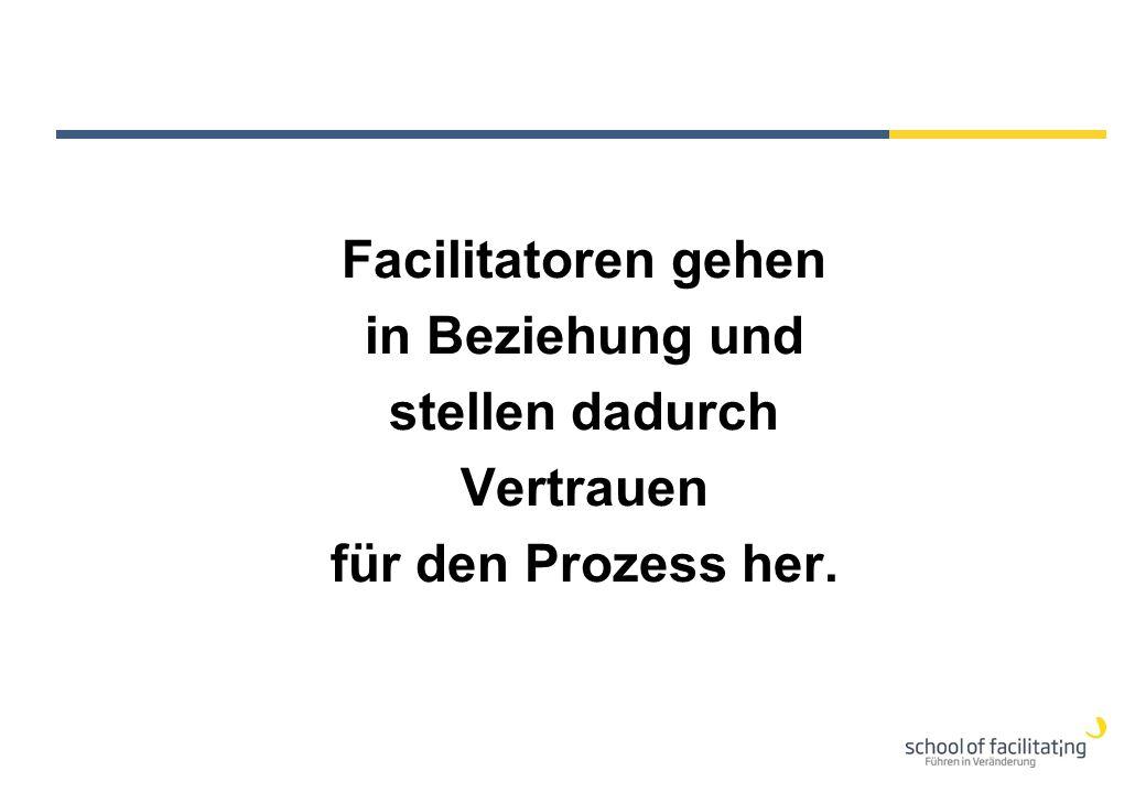 Facilitatoren gehen in Beziehung und stellen dadurch Vertrauen für den Prozess her.
