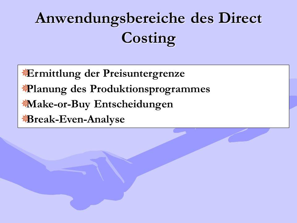 Anwendungsbereiche des Direct Costing  Ermittlung der Preisuntergrenze  Planung des Produktionsprogrammes  Make-or-Buy Entscheidungen  Break-Even-