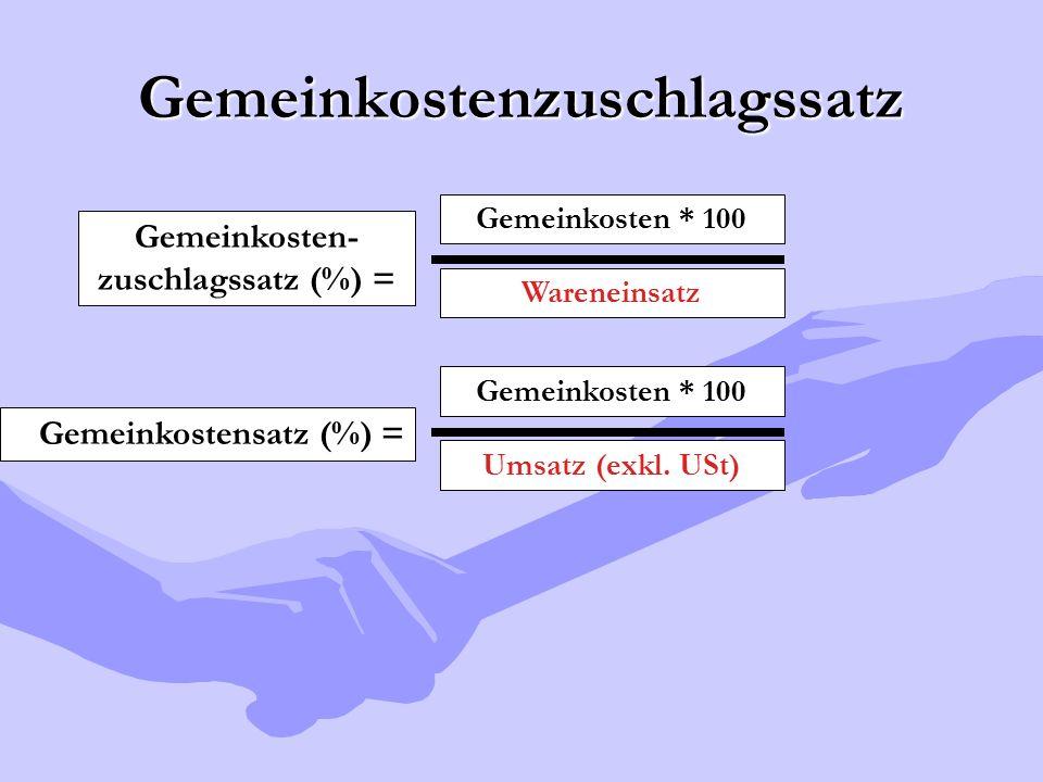 Gemeinkostenzuschlagssatz Gemeinkosten- zuschlagssatz (%) = Gemeinkosten * 100 Wareneinsatz Gemeinkostensatz (%) = Gemeinkosten * 100 Umsatz (exkl. US