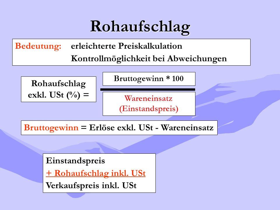 Rohaufschlag Rohaufschlag exkl. USt (%) = Bruttogewinn * 100 Wareneinsatz (Einstandspreis) Bruttogewinn = Erlöse exkl. USt - Wareneinsatz Bedeutung: e
