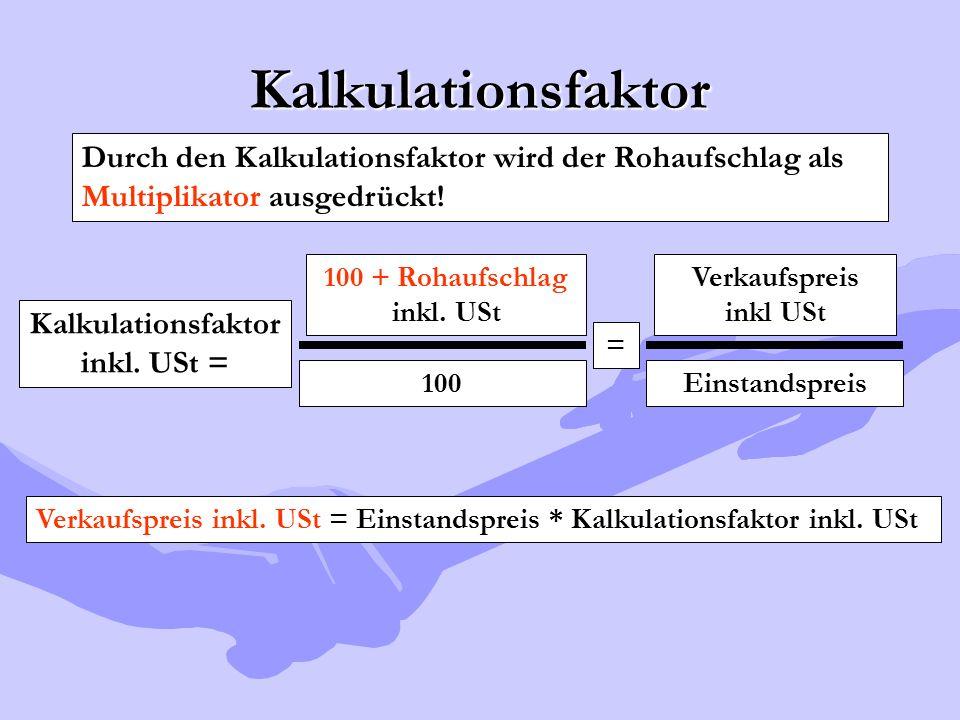 Kalkulationsfaktor Durch den Kalkulationsfaktor wird der Rohaufschlag als Multiplikator ausgedrückt! Kalkulationsfaktor inkl. USt = 100 + Rohaufschlag