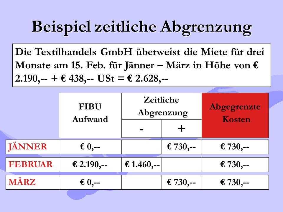 Beispiel zeitliche Abgrenzung Die Textilhandels GmbH überweist die Miete für drei Monate am 15. Feb. für Jänner – März in Höhe von € 2.190,-- + € 438,