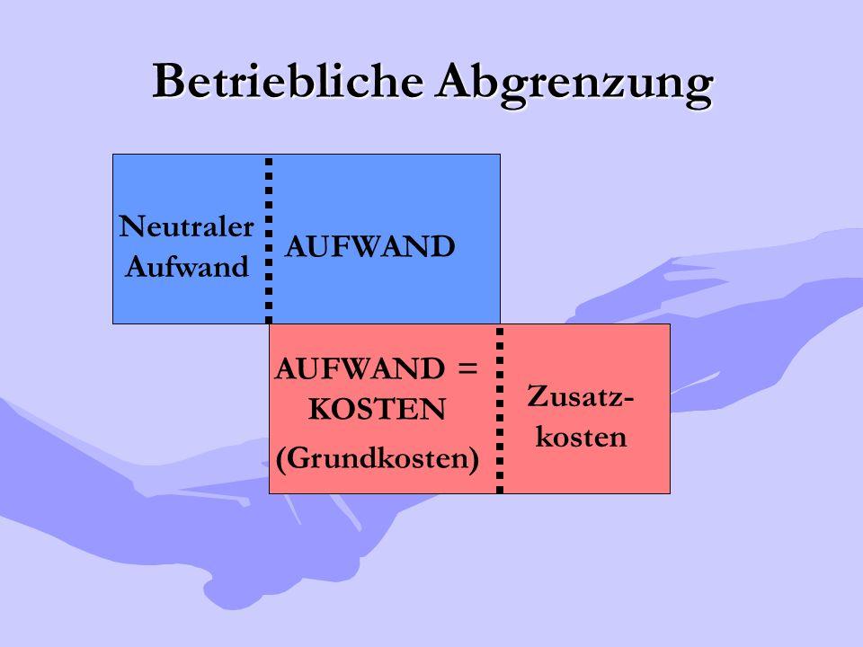 Betriebliche Abgrenzung AUFWAND Neutraler Aufwand AUFWAND = KOSTEN (Grundkosten) Zusatz- kosten