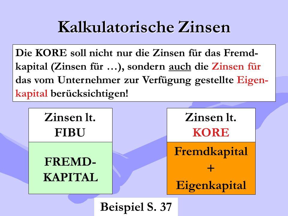 Kalkulatorische Zinsen Die KORE soll nicht nur die Zinsen für das Fremd- kapital (Zinsen für …), sondern auch die Zinsen für das vom Unternehmer zur V