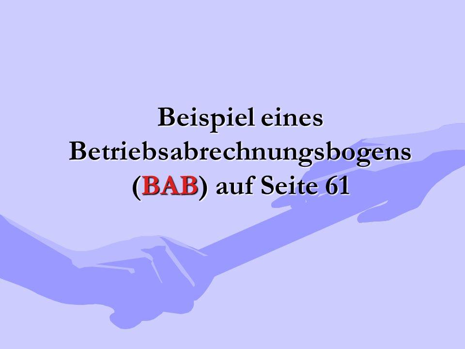Beispiel eines Betriebsabrechnungsbogens (BAB) auf Seite 61