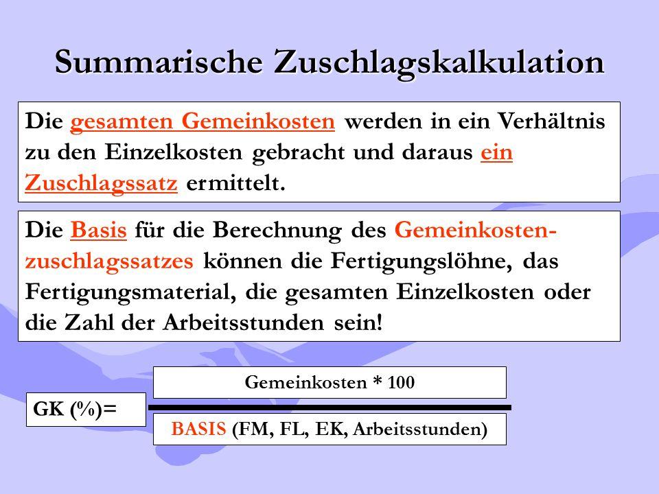 Summarische Zuschlagskalkulation Die gesamten Gemeinkosten werden in ein Verhältnis zu den Einzelkosten gebracht und daraus ein Zuschlagssatz ermittel