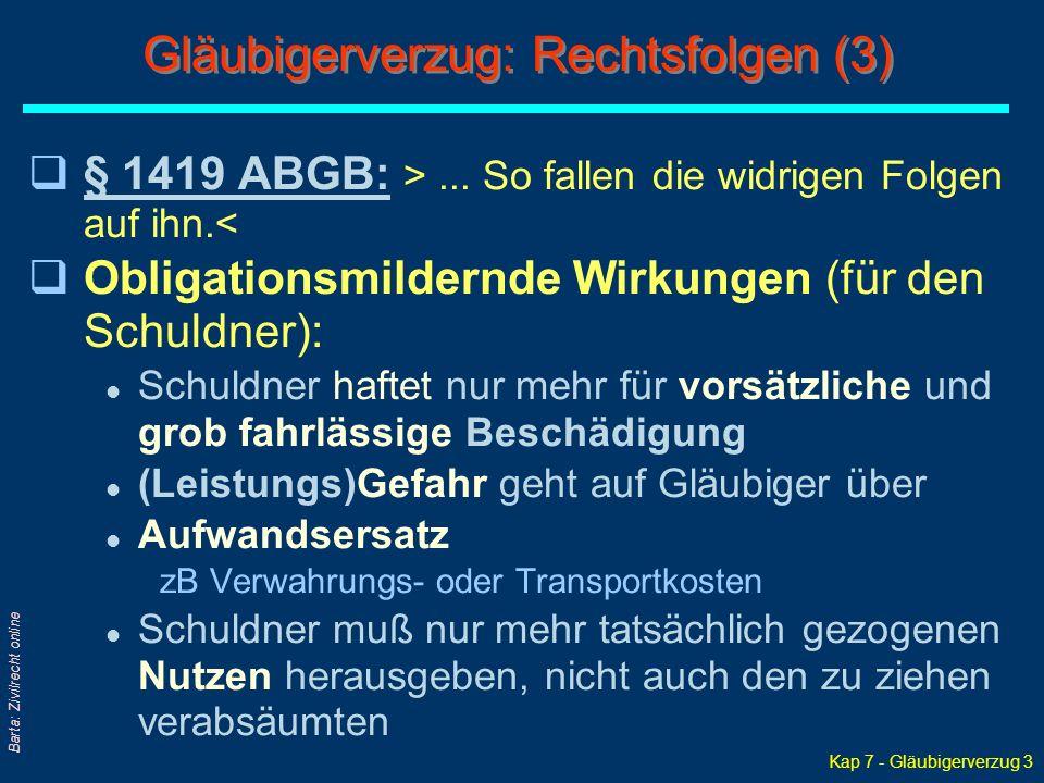 Kap 7 - Gläubigerverzug 3 Barta: Zivilrecht online Gläubigerverzug: Rechtsfolgen (3) q§ 1419 ABGB: >... So fallen die widrigen Folgen auf ihn.<§ 1419
