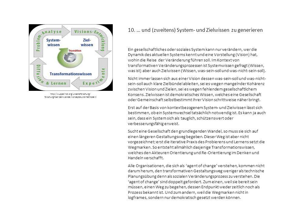 10. … und (zweitens) System- und Zielwissen zu generieren Ein gesellschaftliches oder soziales System kann nur verändern, wer die Dynamik des aktuelle