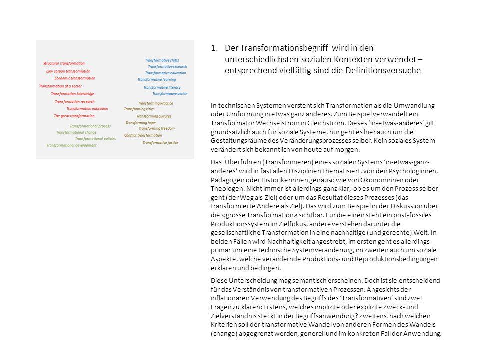 1. Der Transformationsbegriff wird in den unterschiedlichsten sozialen Kontexten verwendet – entsprechend vielfältig sind die Definitionsversuche In t