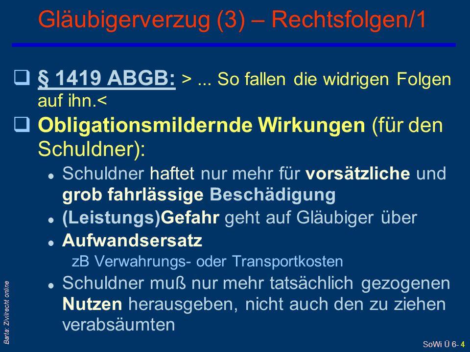 SoWi Ü 6- 4 Barta: Zivilrecht online Gläubigerverzug (3) – Rechtsfolgen/1 q§ 1419 ABGB: >...