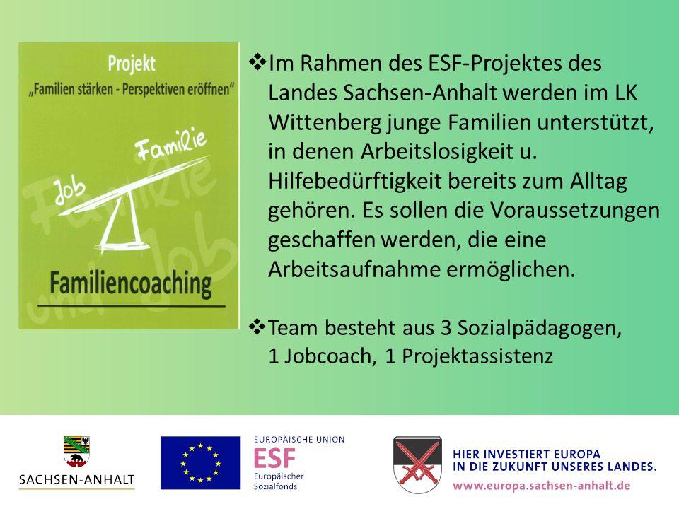  Im Rahmen des ESF-Projektes des Landes Sachsen-Anhalt werden im LK Wittenberg junge Familien unterstützt, in denen Arbeitslosigkeit u. Hilfebedürfti