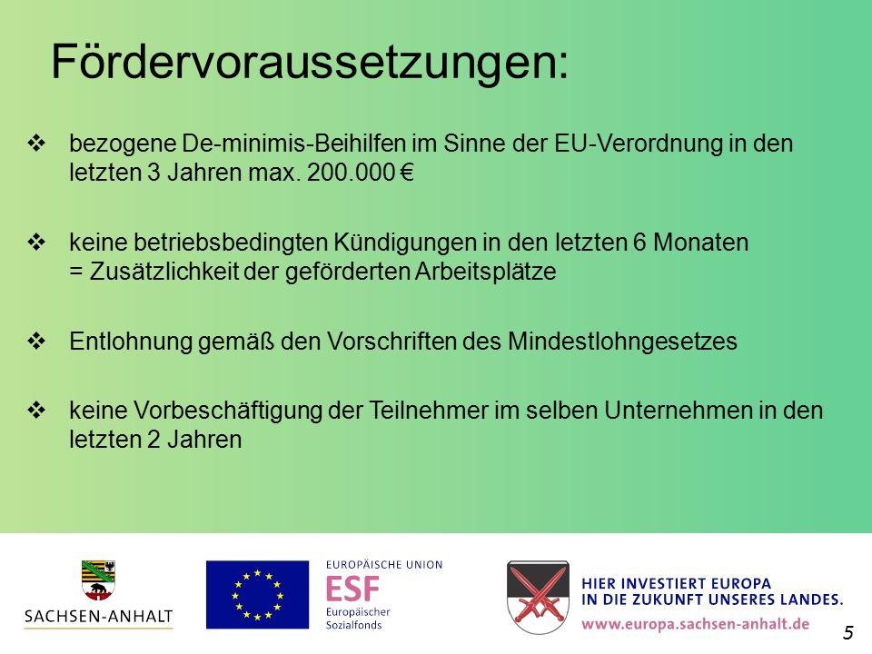 Fördervoraussetzungen:  bezogene De-minimis-Beihilfen im Sinne der EU-Verordnung in den letzten 3 Jahren max. 200.000 €  keine betriebsbedingten Kün