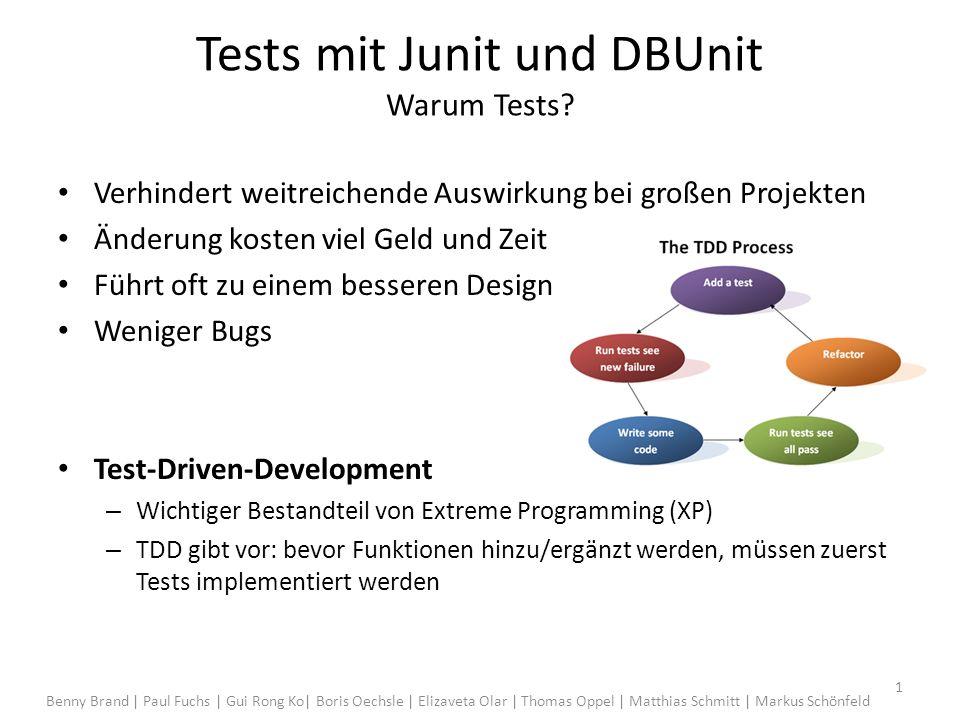 Tests mit Junit und DBUnit Warum Tests.
