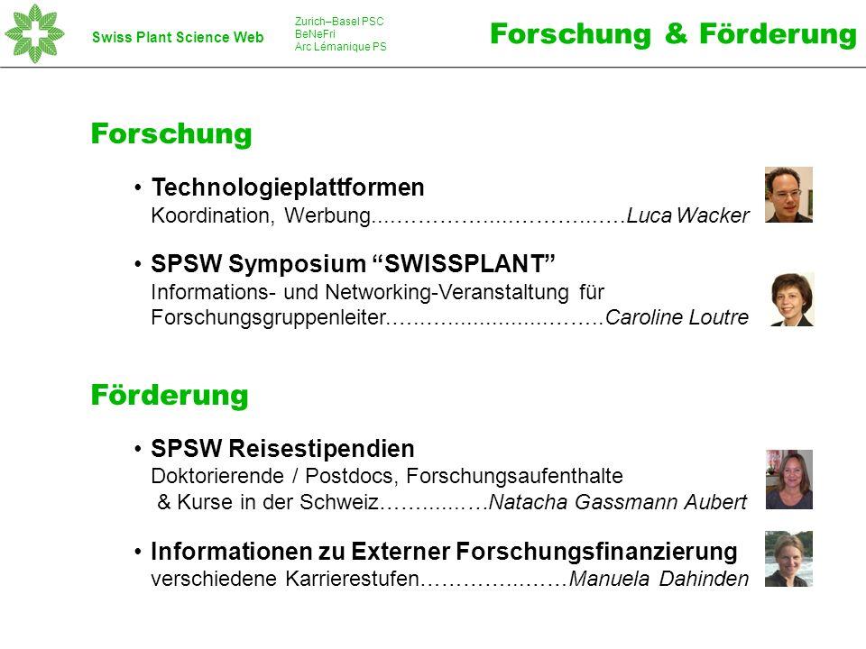 Swiss Plant Science Web Zurich–Basel PSC BeNeFri Arc Lémanique PS Forschung Technologieplattformen Koordination, Werbung....………….....………...….Luca Wacker SPSW Symposium SWISSPLANT Informations- und Networking-Veranstaltung für Forschungsgruppenleiter.…..…................……..Caroline Loutre Förderung SPSW Reisestipendien Doktorierende / Postdocs, Forschungsaufenthalte & Kurse in der Schweiz…….......…Natacha Gassmann Aubert Informationen zu Externer Forschungsfinanzierung verschiedene Karrierestufen…………...……Manuela Dahinden Forschung & Förderung