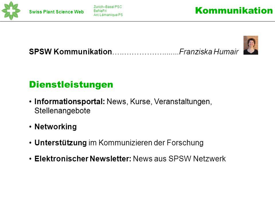 Swiss Plant Science Web Zurich–Basel PSC BeNeFri Arc Lémanique PS www.spsw.ch