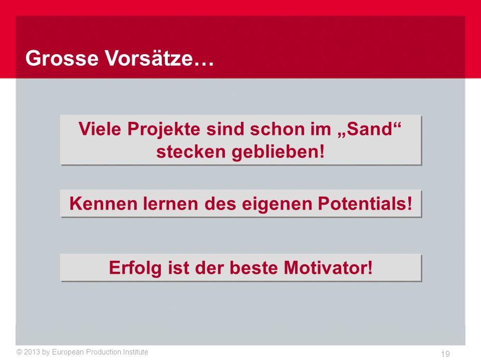 © 2013 by European Production Institute 19 Grosse Vorsätze… Erfolg ist der beste Motivator.