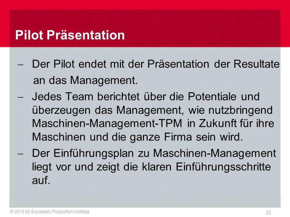 © 2013 by European Production Institute 22  Der Pilot endet mit der Präsentation der Resultate an das Management.