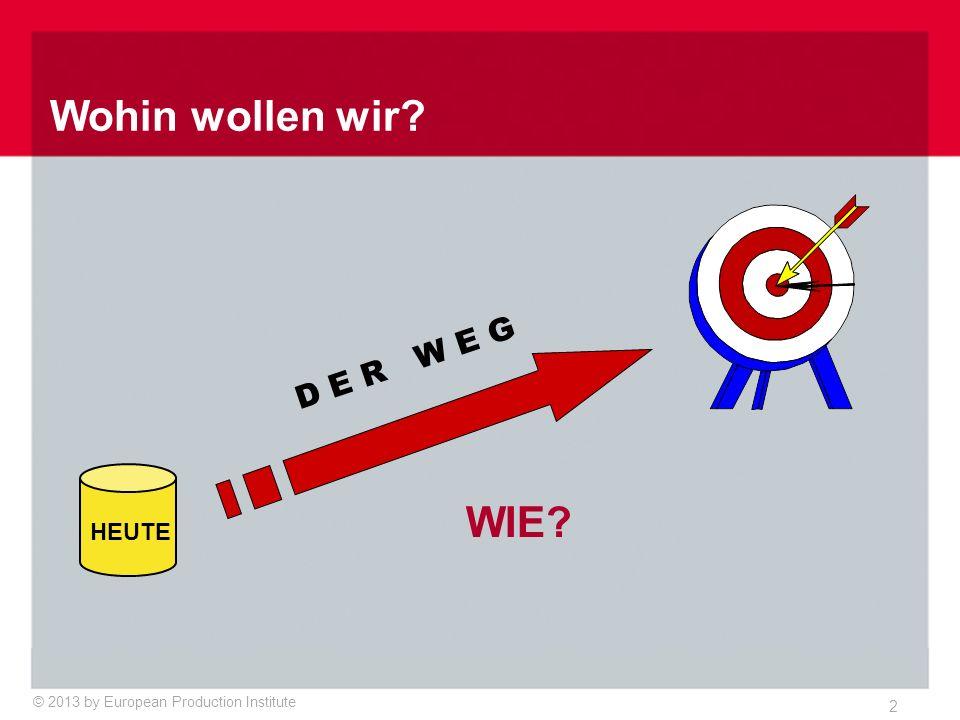 © 2013 by European Production Institute 2 WIE? D E R W E G HEUTE Wohin wollen wir?