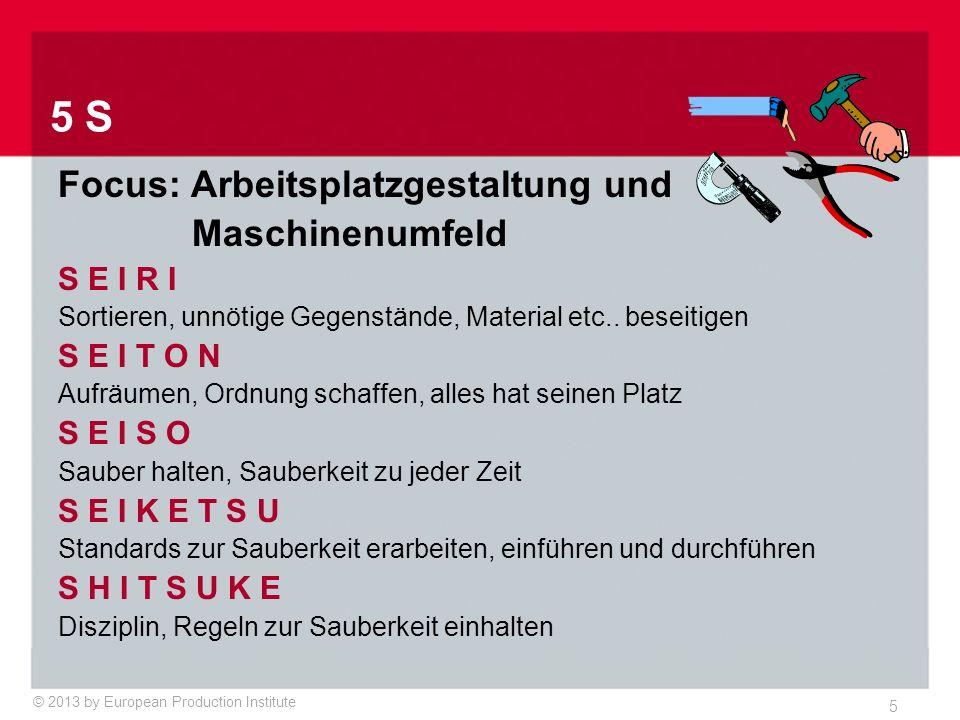 © 2013 by European Production Institute 5 5 S Focus: Arbeitsplatzgestaltung und Maschinenumfeld S E I R I Sortieren, unnötige Gegenstände, Material etc..