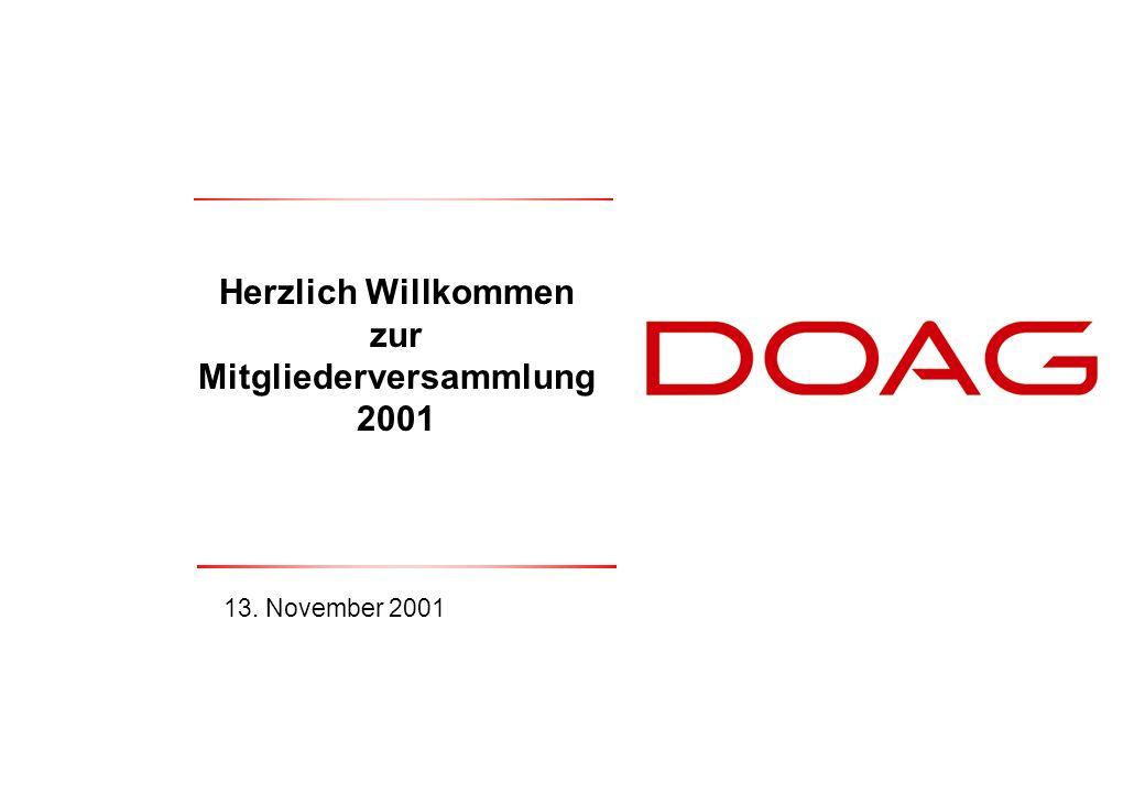  DOAG e.V., November 200151 § 9 Der Satzung der DOAG: 9.1Der Vorstand des Vereins besteht aus mindestens 4 bis höchstens 8 gewählten Personen 9.3Die Mitglieder des Vereins werden für die Dauer von 2 Jahren nach den Grundsätzen der Mehrheitswahl in einem Wahlgang gewählt und bleiben bis zur Wahl des neueen Vorstandes im Amt.