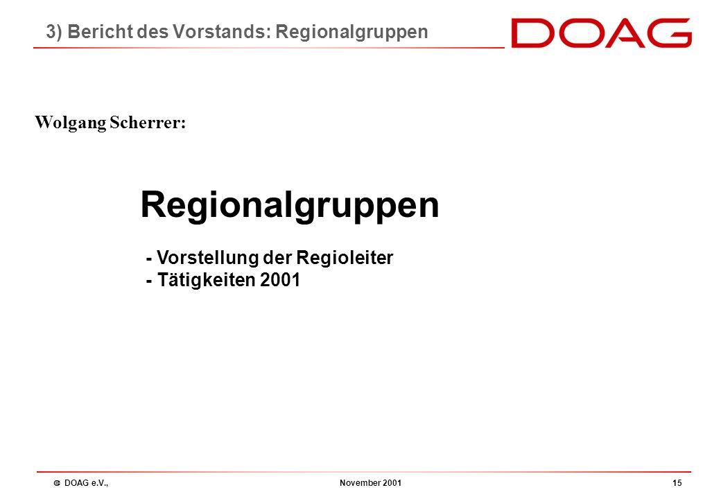  DOAG e.V., November 200114 Koordination:Christian Trieb, SBS Acc KSB Neues SIG-Konzept 2002: reduziert auf 3 SIGs SIG Database Christian Trieb, SBS