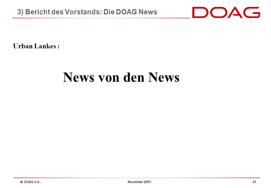  DOAG e.V., November 200120 Ihre Rolle.......... aktive Teilnahme Erfahrung und Wissen einbringen Kommunikationsplattform nutzen praxisorientierte Vo