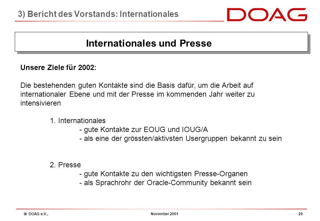  DOAG e.V., November 200128 3) Bericht des Vorstands: Internationales Internationales und Presse Unsere Ziele für 2001: 1. Internationales - gute Kon