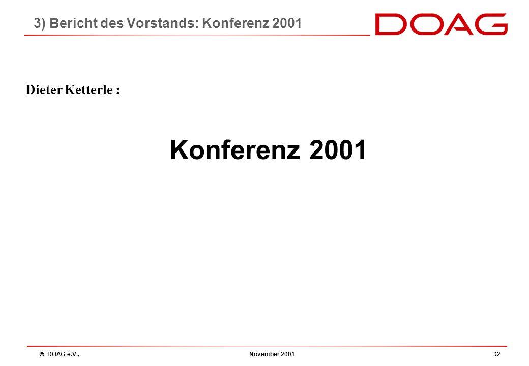  DOAG e.V., November 200131 3) Bericht des Vorstands: Webserver / eDOAG Webserver / eDOAG Neue Adreß-/ Mitgliederverwaltung Online Anmeldung zur Konf