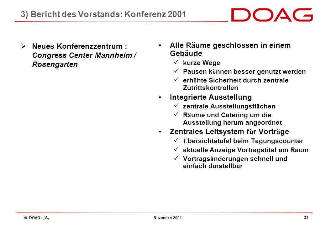  DOAG e.V., November 200132 Konferenz 2001 Dieter Ketterle : 3) Bericht des Vorstands: Konferenz 2001